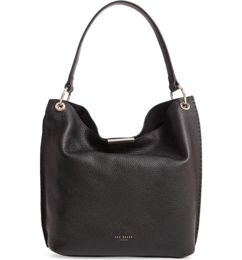TED BAKER LONDON Helgesoft Leather Hobo Bag, Main, color, BLACK