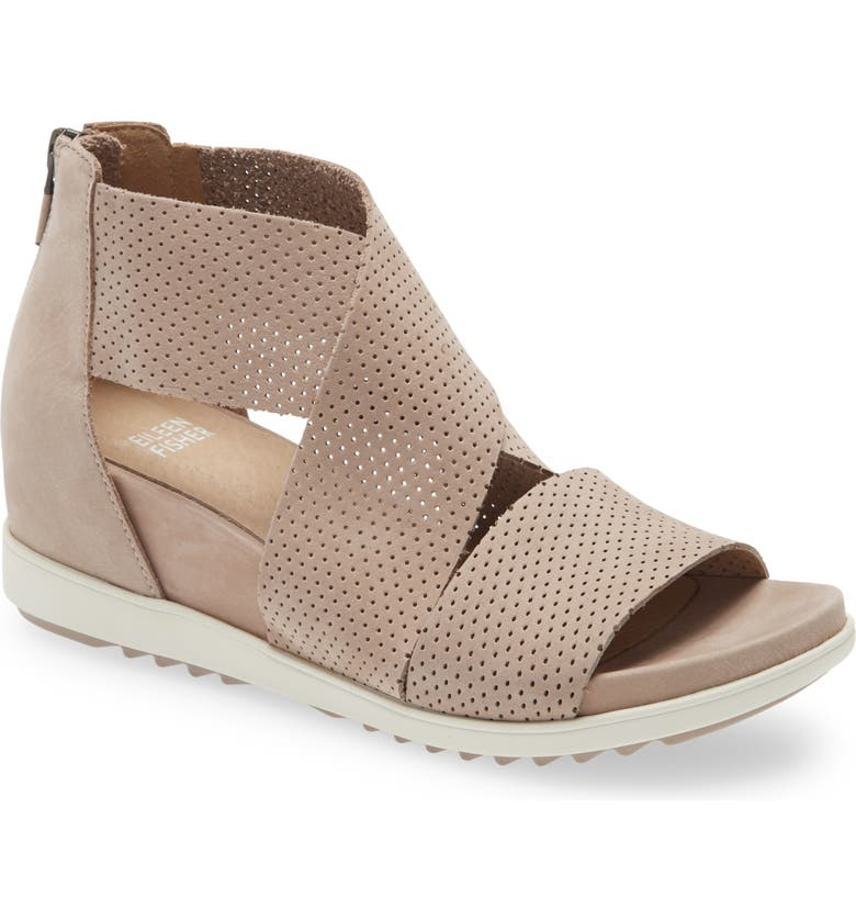 EILEEN FISHER Voice Wedge Sandal, Main, color, EARTH TUMBLED NUBUCK