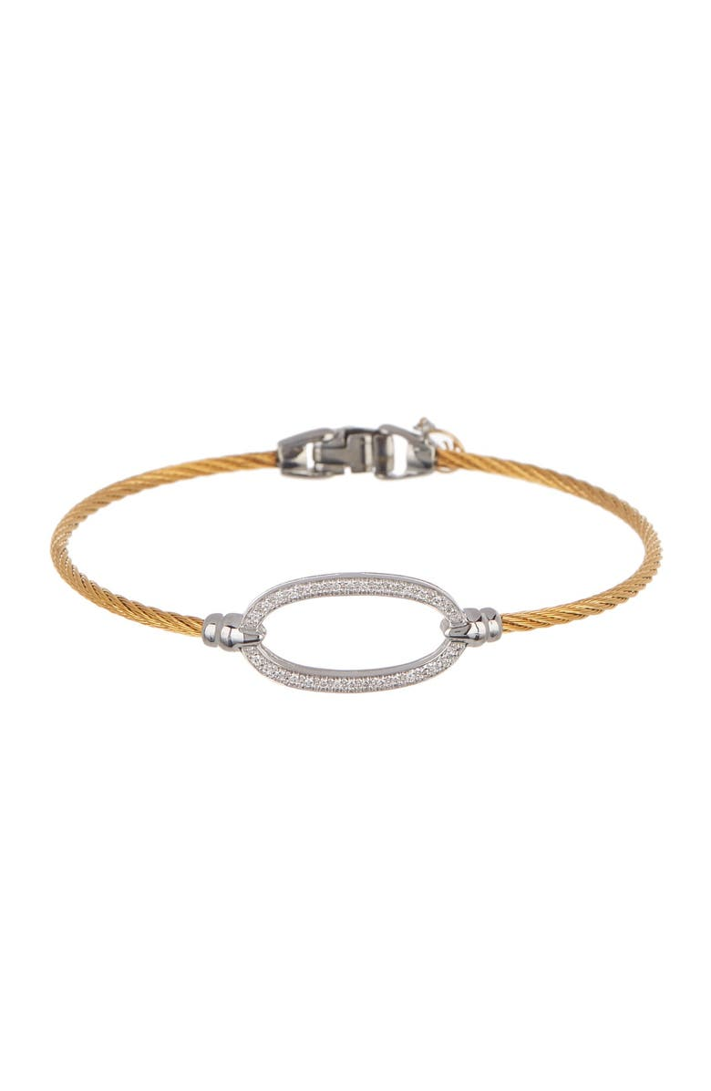 ALOR 18K White Gold & Yellow Stainless Steel Cable Pave Diamond Oval Station Bangle Bracelet - 0.16 ctw, Main, color, 700