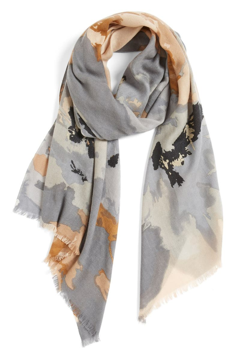 NORDSTROM 'Delphine' Wool & CashmereScarf, Main, color, GREY COMBO