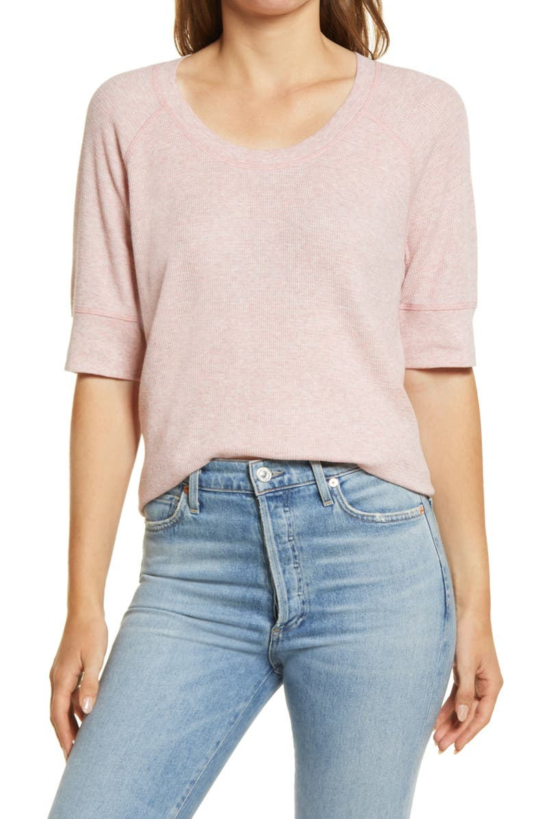 CASLON<SUP>®</SUP> Elbow Sleeve Waffle Top, Main, color, PINK HEATHER