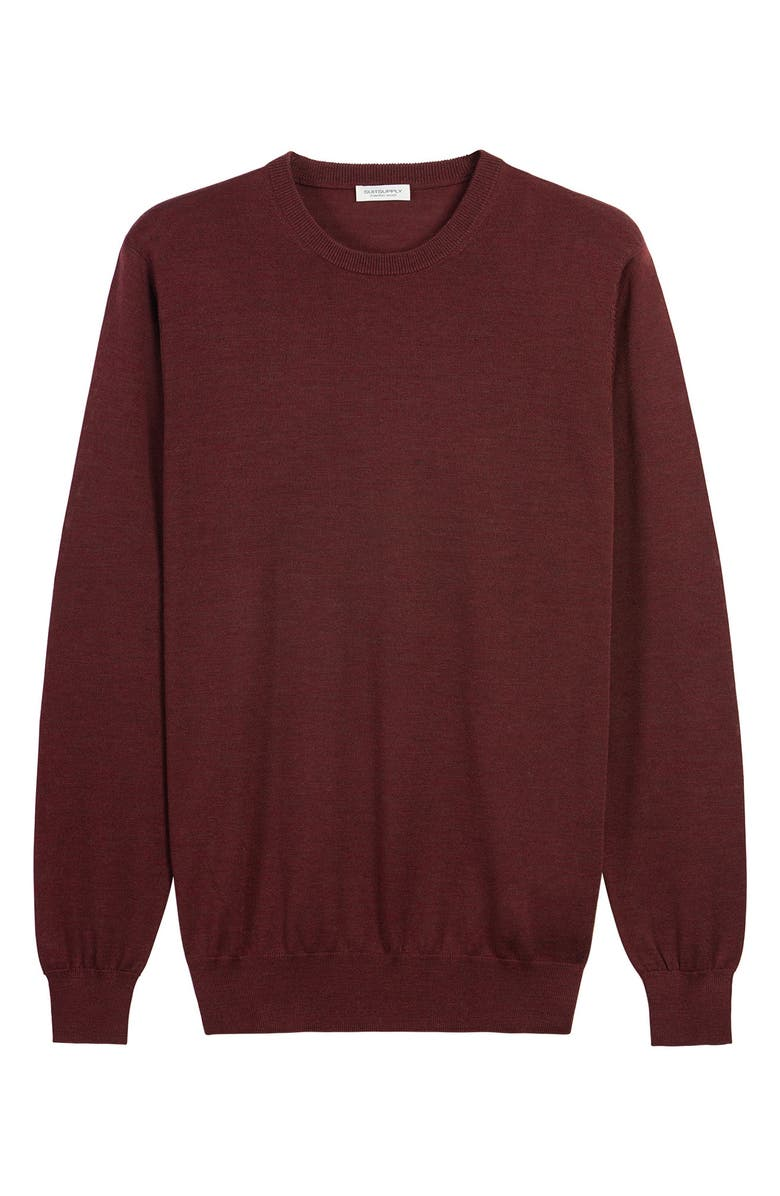 SUITSUPPLY Crewneck Wool Sweater, Main, color, BURGUNDY