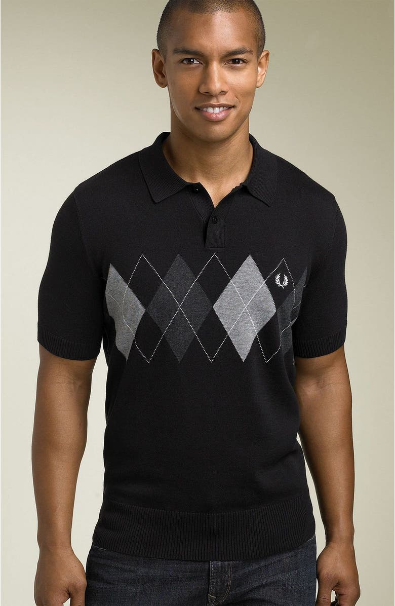 FRED PERRY Short Sleeve Argyle Sweater, Main, color, Black