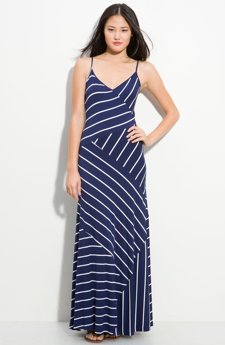 CALVIN KLEIN Asymmetrical Stripe Maxi Dress, Main, color, 440