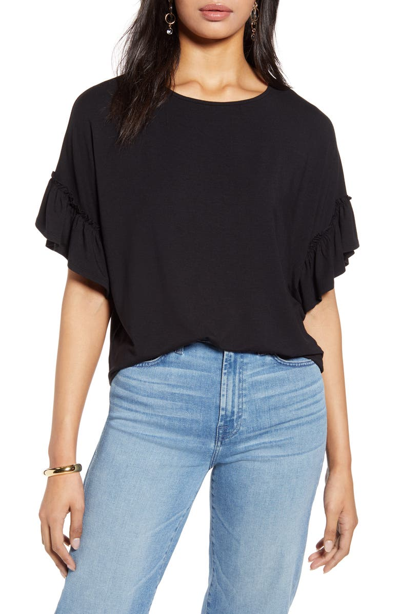 HALOGEN<SUP>®</SUP> Ruffle Sleeve Top, Main, color, 001