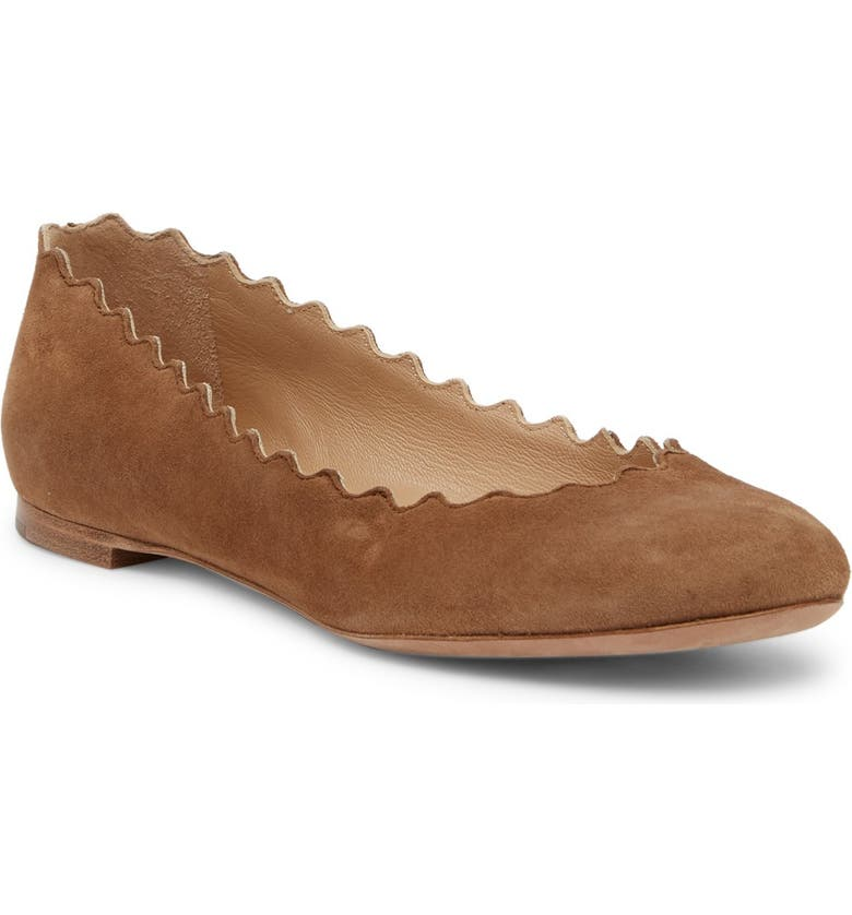 CHLOÉ Lauren Scalloped Ballet Flat, Main, color, 212