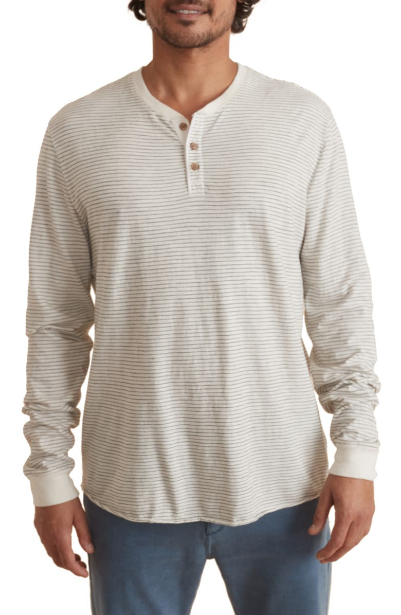 MARINE LAYER Lightweight Stripe Henley, Main, color, NATURAL/ BLACK STRIPE INFILL
