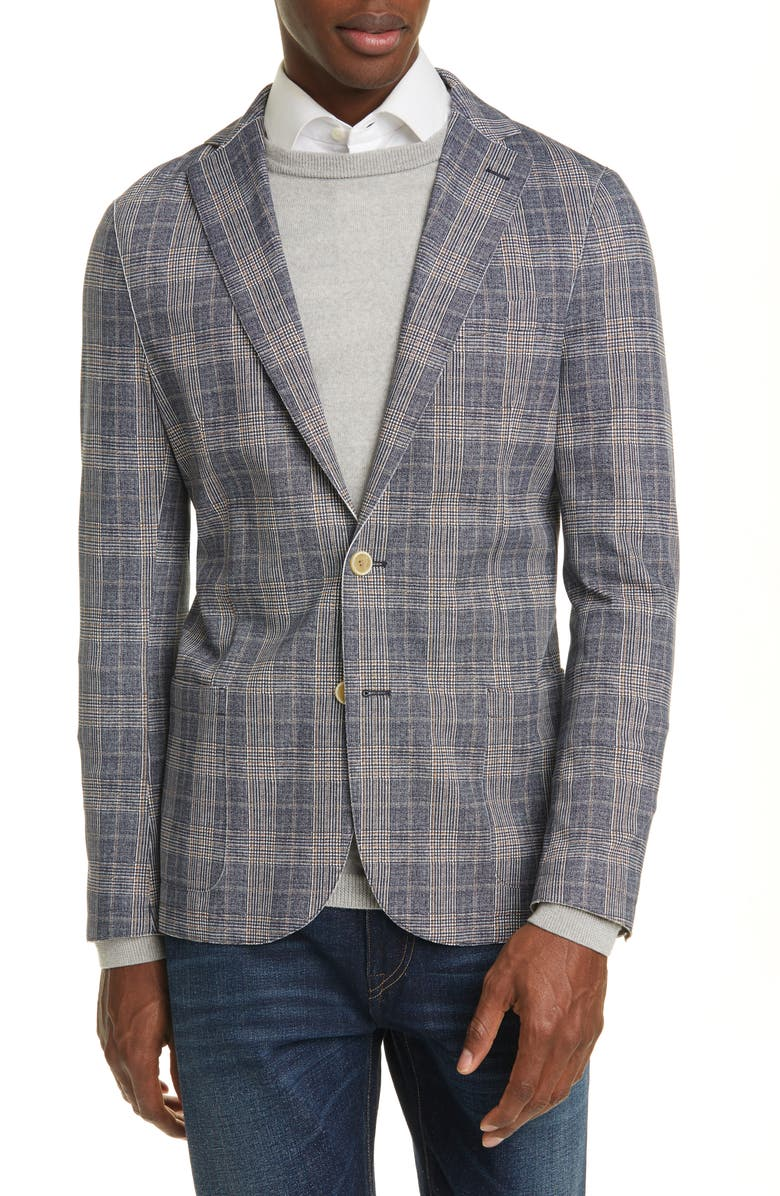 ELEVENTY Trim Fit Plaid Stretch Sport Coat, Main, color, 410