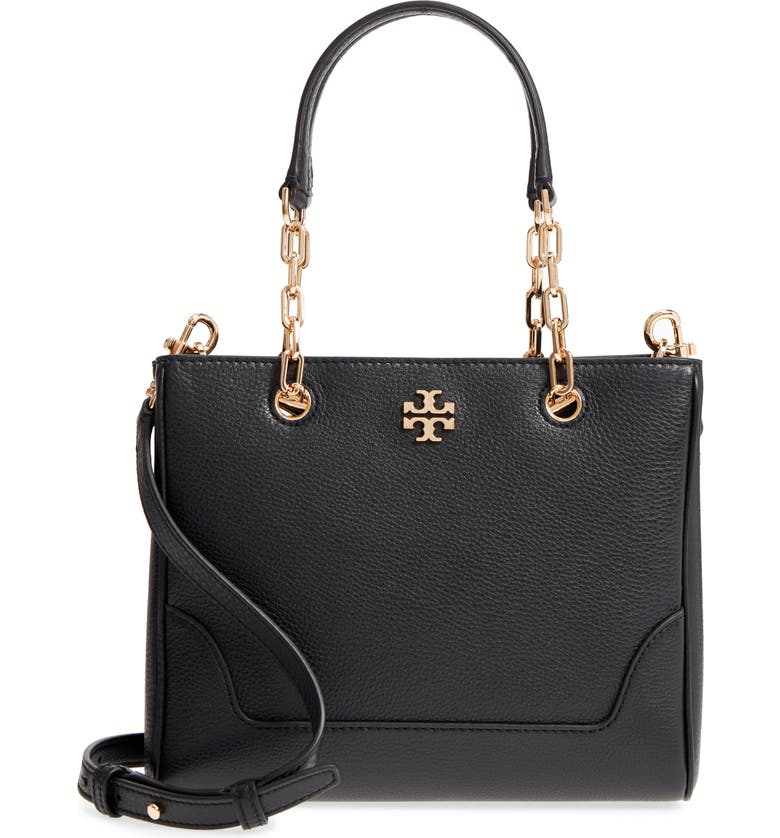 TORY BURCH Small Marsden Leather Tote, Main, color, 001