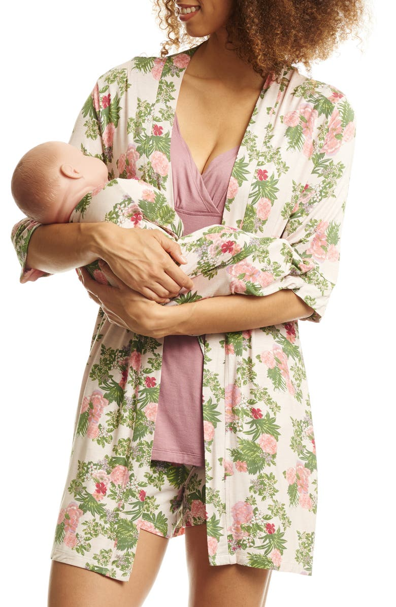 EVERLY GREY Adalia 5-Piece Maternity/Nursing Pajama Set, Main, color, BEIGE FLORAL