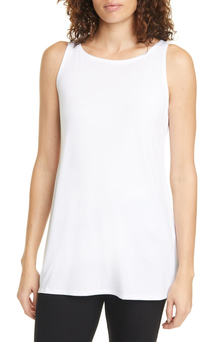 EILEEN FISHER Ballet Neck Tencel<sup>®</sup> Lyocell Tunic Tank, Main, color, 100