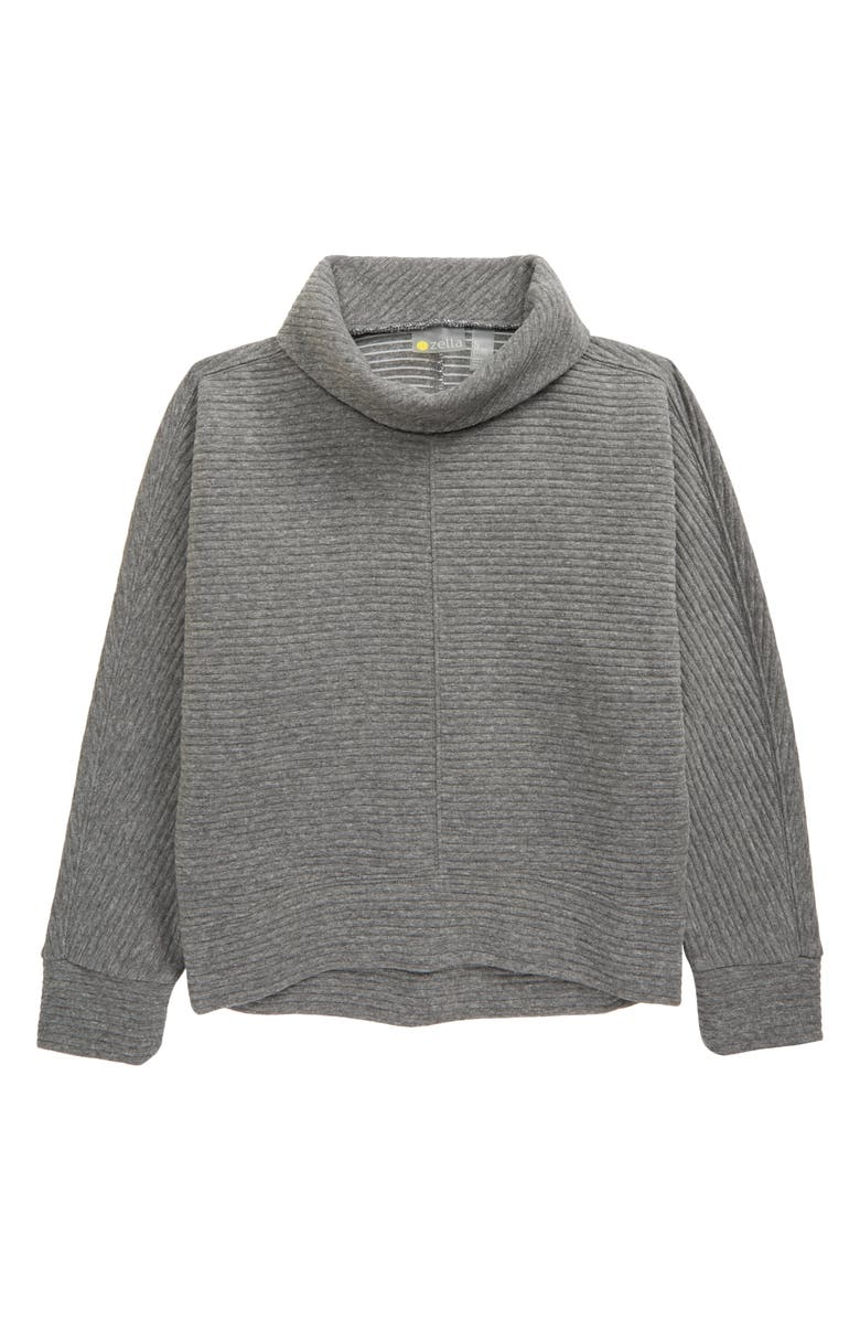 ZELLA GIRL Kids' Carey Ribbed Funnel Neck Pullover, Main, color, GREY MEDIUM CHARCOAL HEATHER