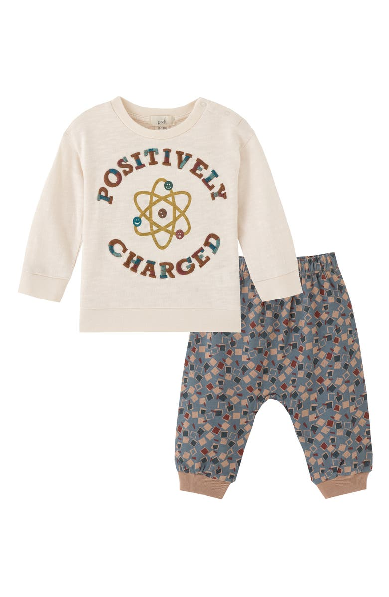 PEEK ESSENTIALS Positively Charged Graphic Tee & Pants Set, Main, color, STONE