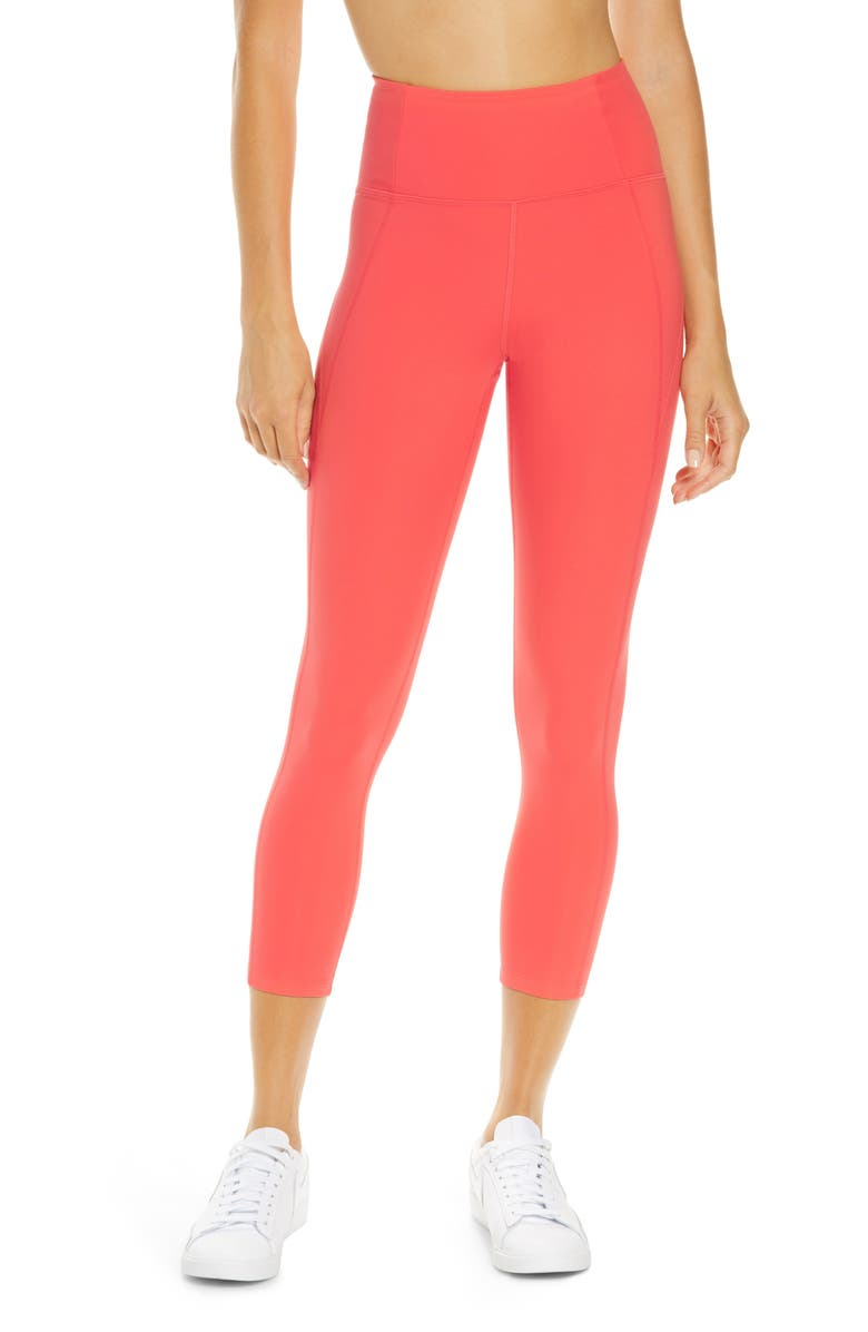 GIRLFRIEND COLLECTIVE High Waist 7/8 Leggings, Main, color, CORAL