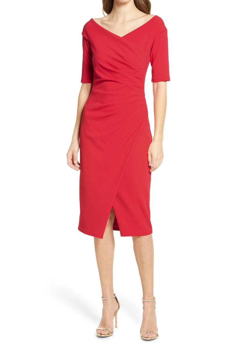 TADASHI SHOJI Ruched Crepe Cocktail Dress, Main, color, 600