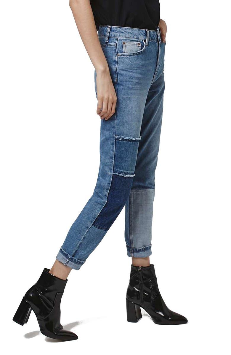TOPSHOP Mom Patchwork High Rise Jeans, Main, color, 400