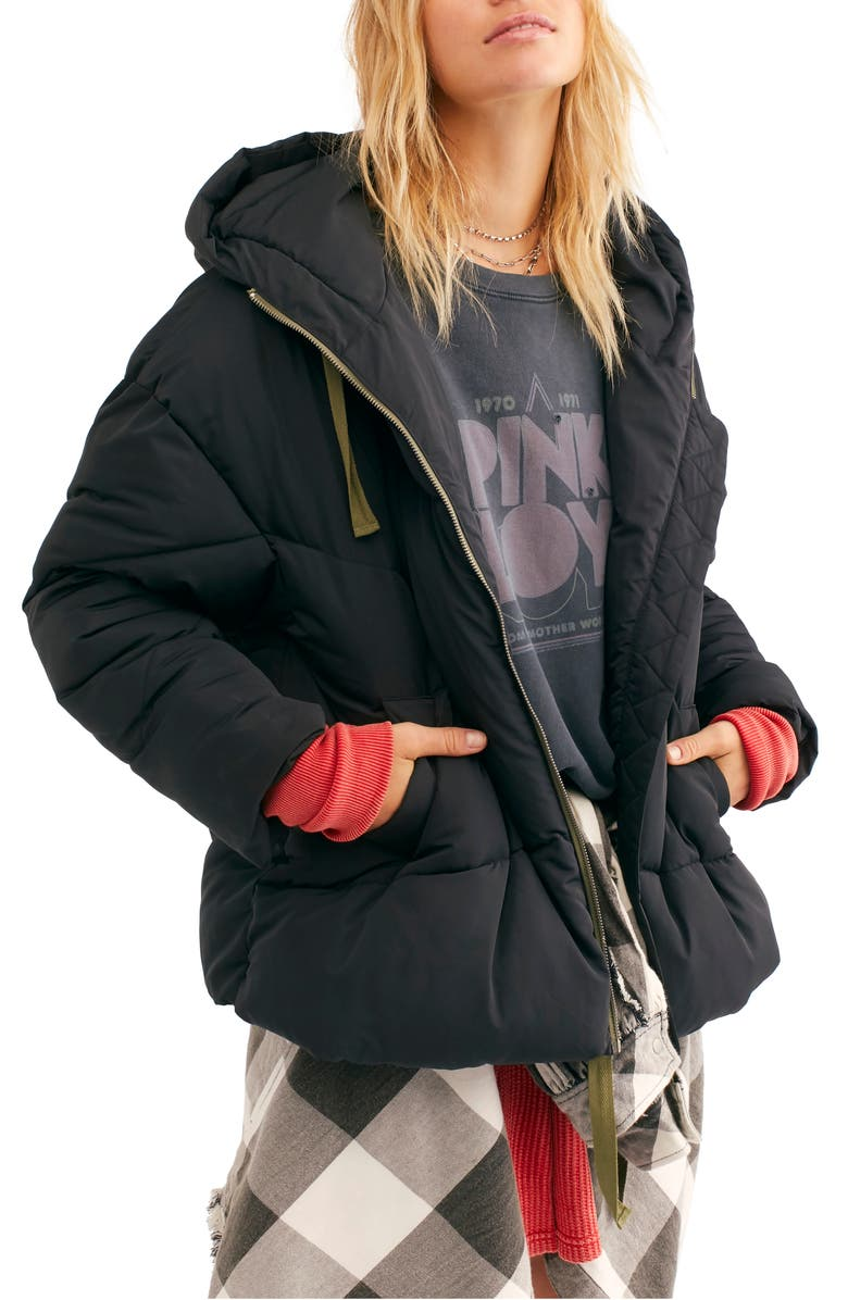 FREE PEOPLE Hailey Hooded Puffer Jacket, Main, color, 001