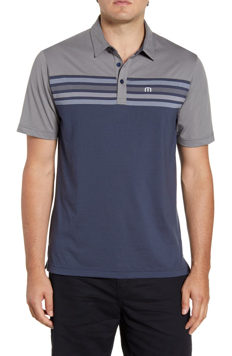 TRAVISMATHEW All Day Every Day Stripe Performance Polo, Main, color, 020