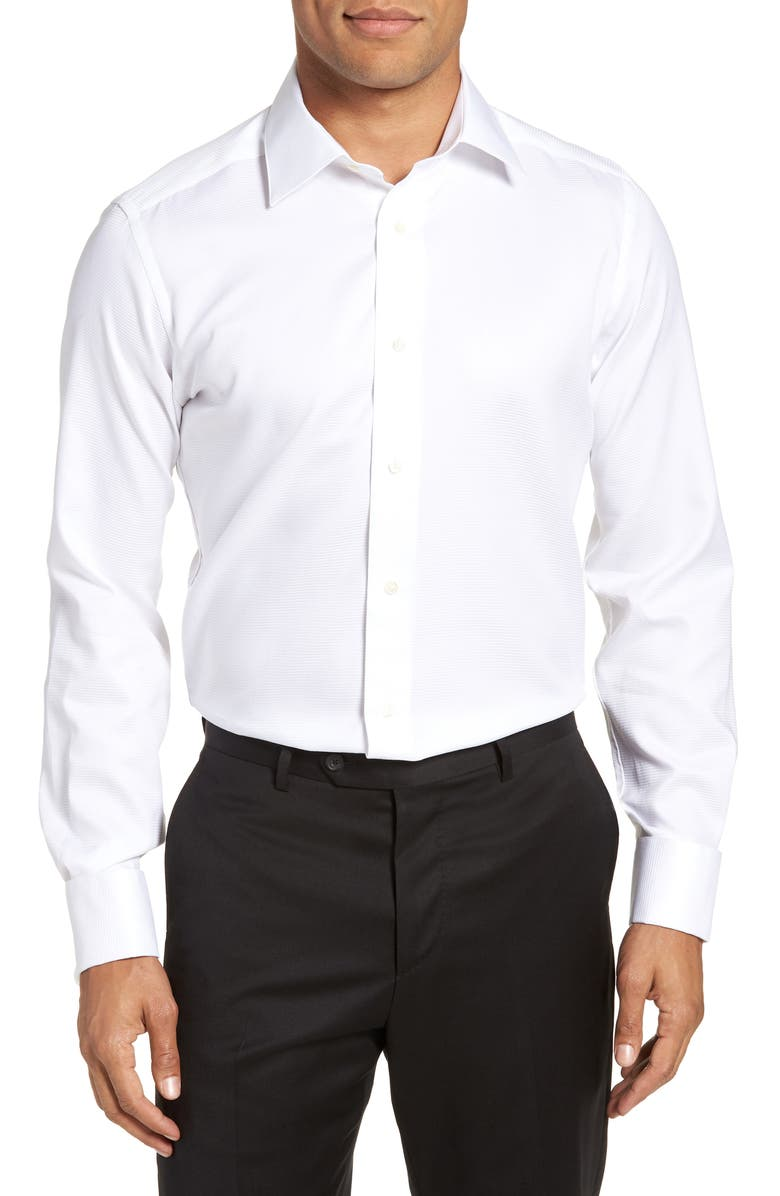 DAVID DONAHUE Trim Fit Twill French Cuff Tuxedo Shirt, Main, color, SOLID WHITE