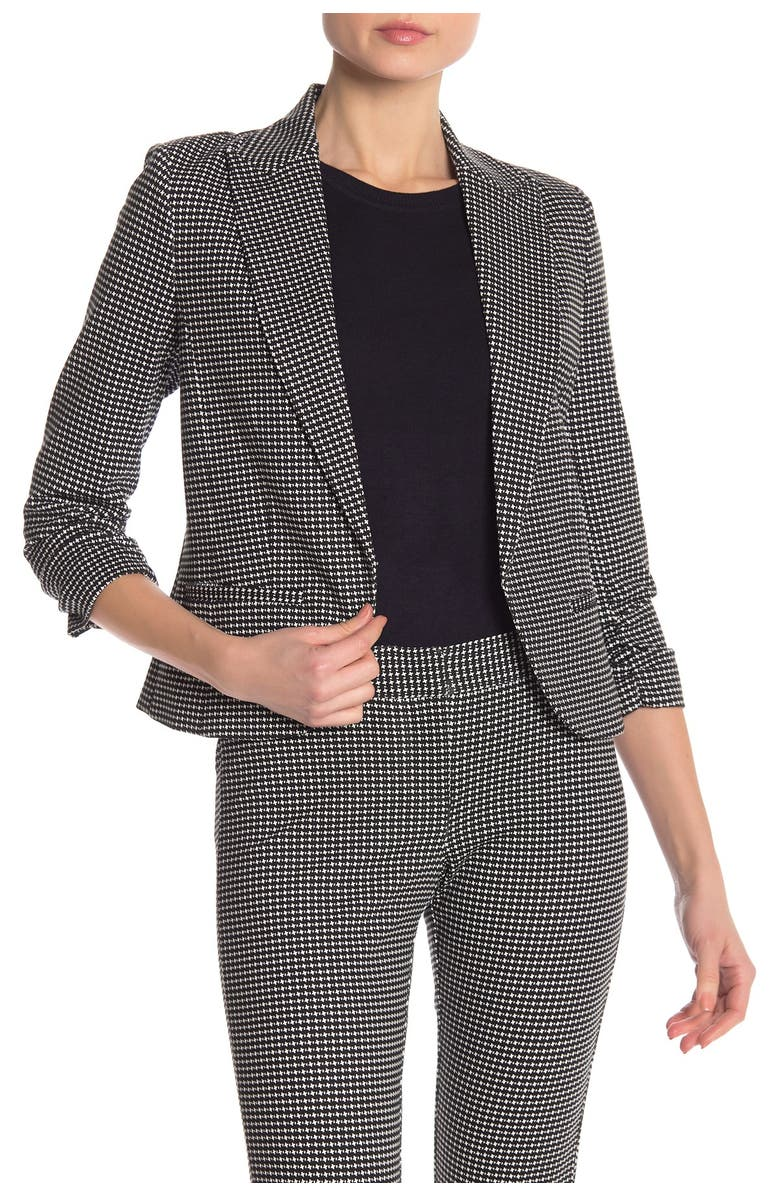 AMANDA AND CHELSEA Ruched 3/4 Sleeve Ponte Blazer, Main, color, BLK/WHT