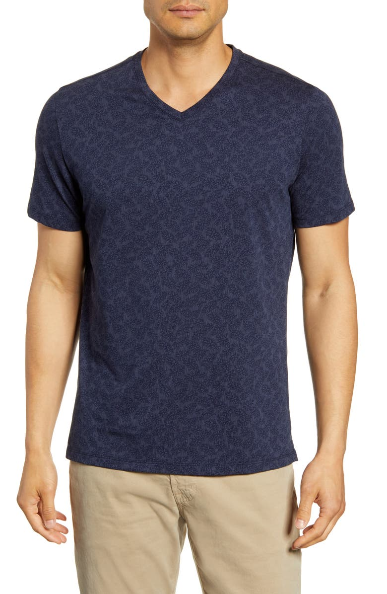ROBERT BARAKETT North Hatley Leaf Print V-Neck T-Shirt, Main, color, 457
