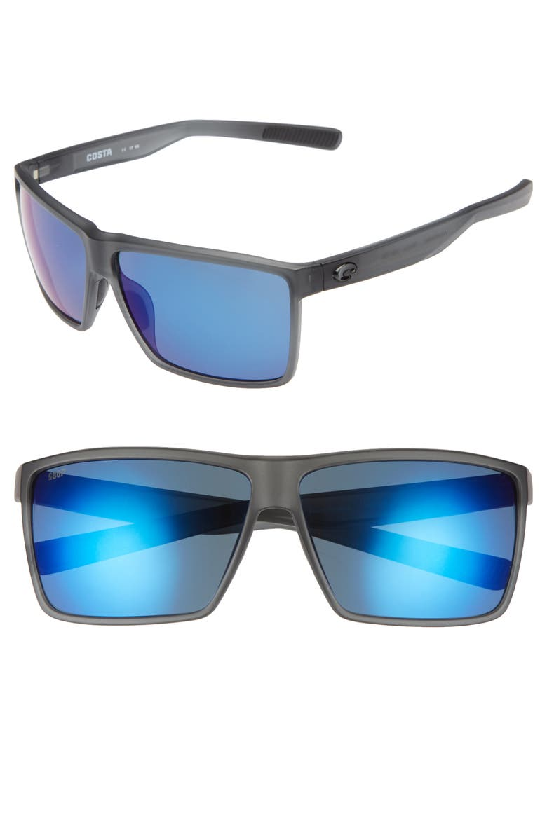 COSTA DEL MAR Rincon 63mm Polarized Sunglasses, Main, color, SMOKE CRYSTAL/ BLUE MIRROR