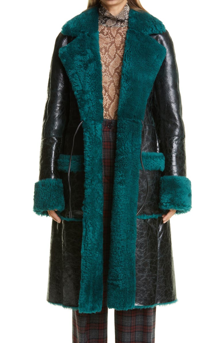 DRIES VAN NOTEN Lorca Reversible Crinkle Leather and Genuine Shearling Coat, Main, color, BOTTLE