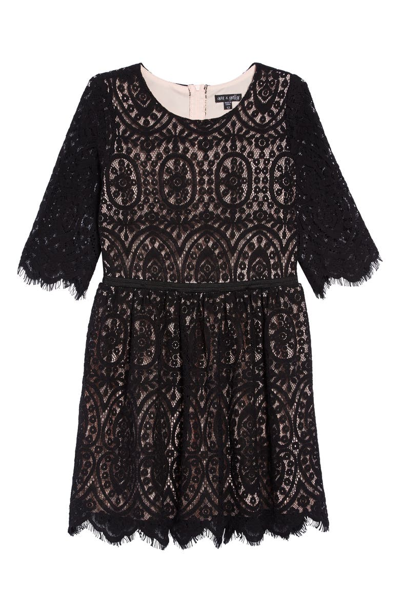 AVA & YELLY Embroidered Lace Dress, Main, color, 001