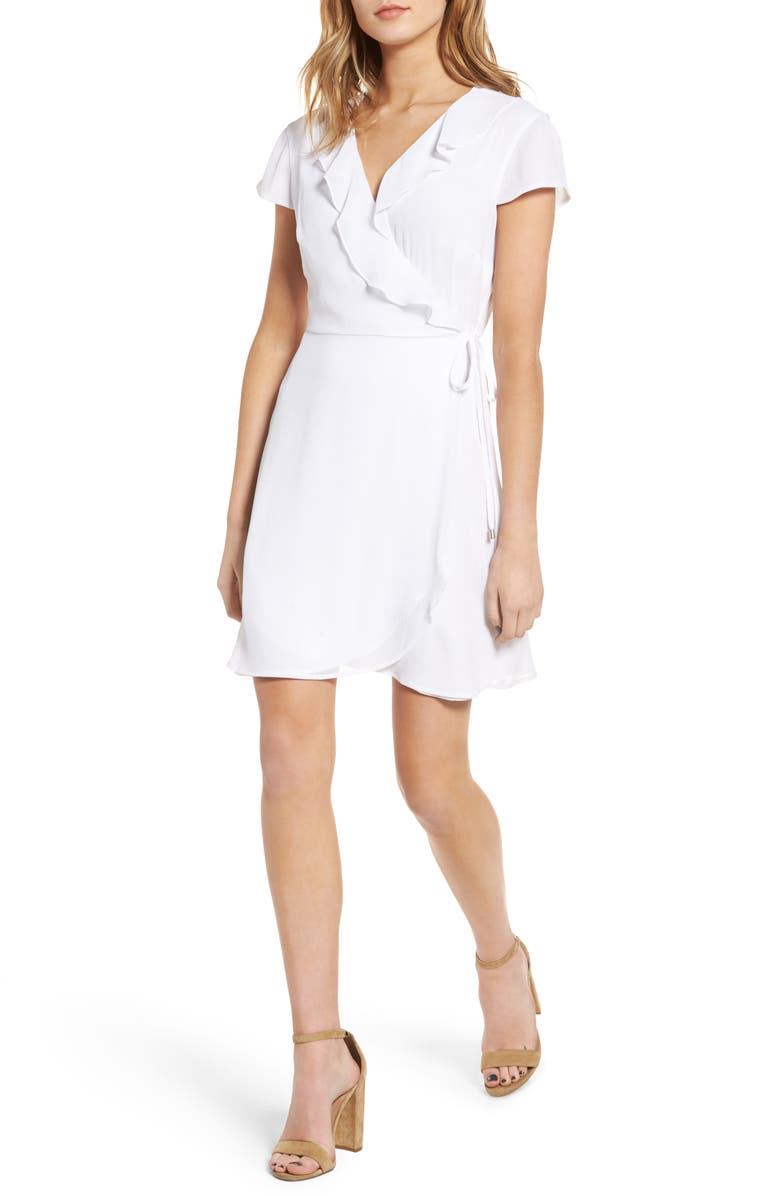 ZZDNU WILLOW & CLAY Willow & Clay Ruffle Wrap Dress, Main, color, 100