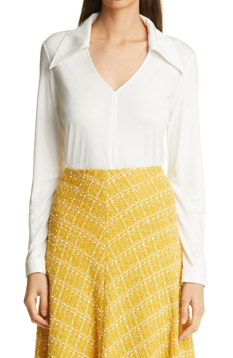 ST. JOHN COLLECTION Silk Jersey Blouse, Main, color, WHITE