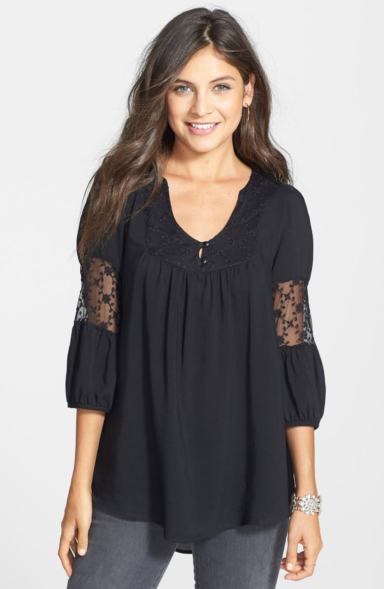 PAINTED THREADS Crochet Inset Peasant Top, Main, color, Black