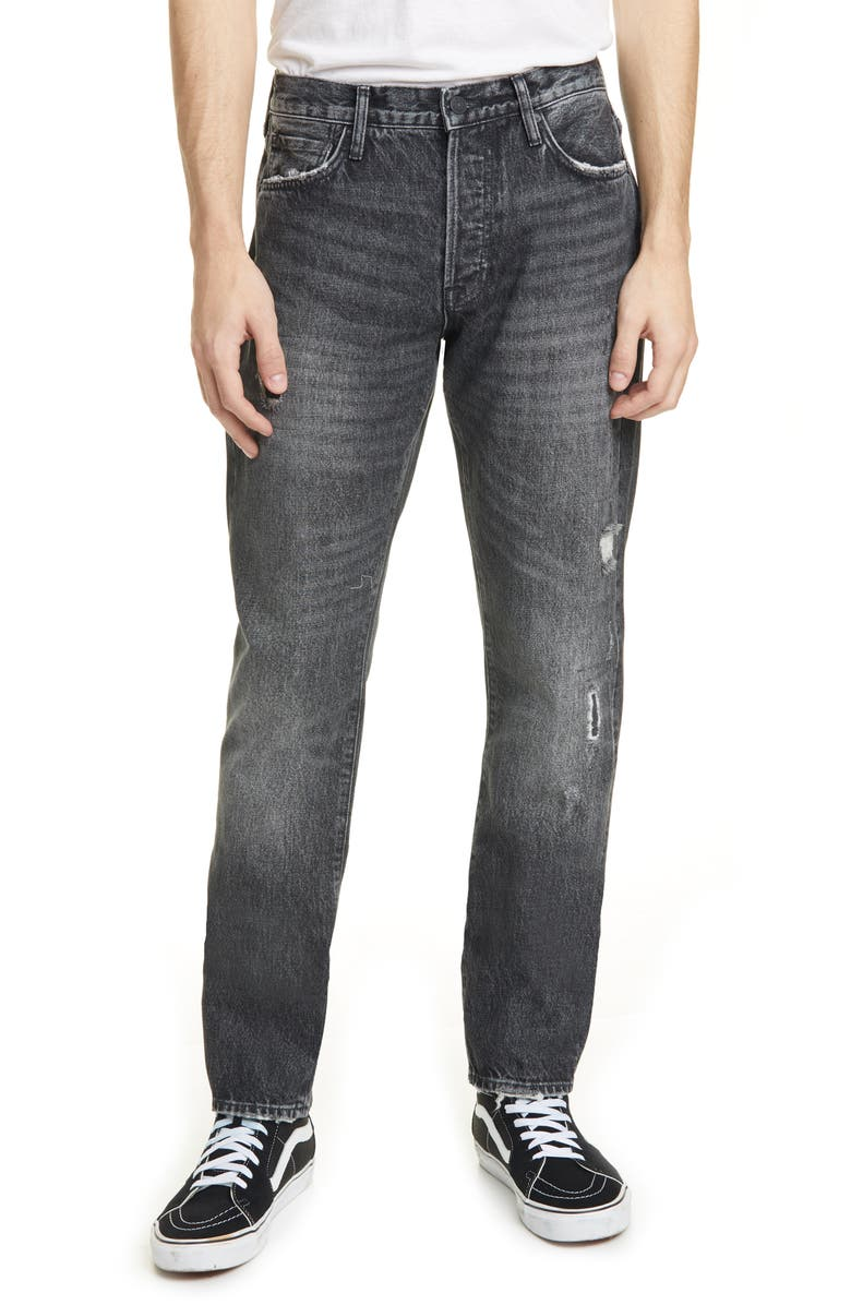 OVADIA Ripped Straight Coal Repair Jeans, Main, color, 001