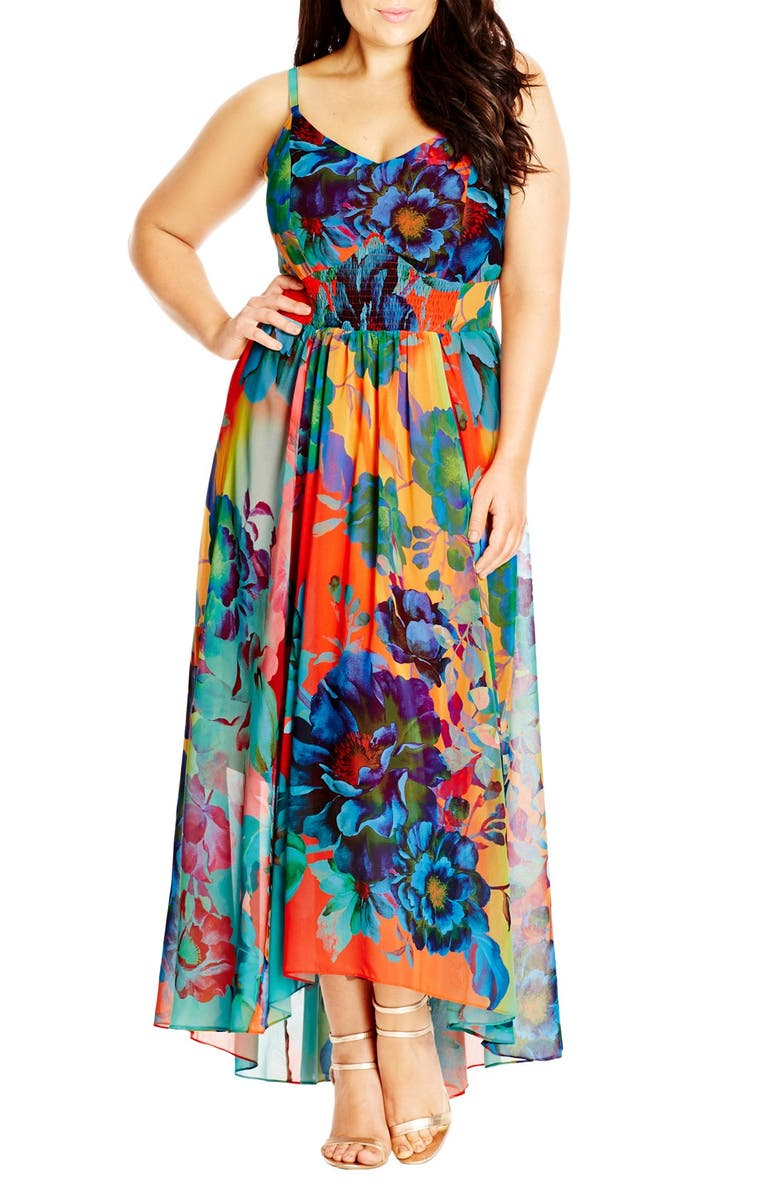 CITY CHIC 'Hot Summer Days' Print High/Low Maxi Dress, Main, color, 950