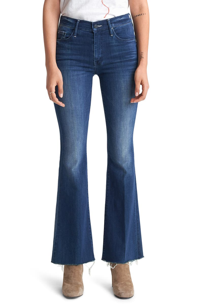MOTHER Fray Hem Flare Jeans, Main, color, 410