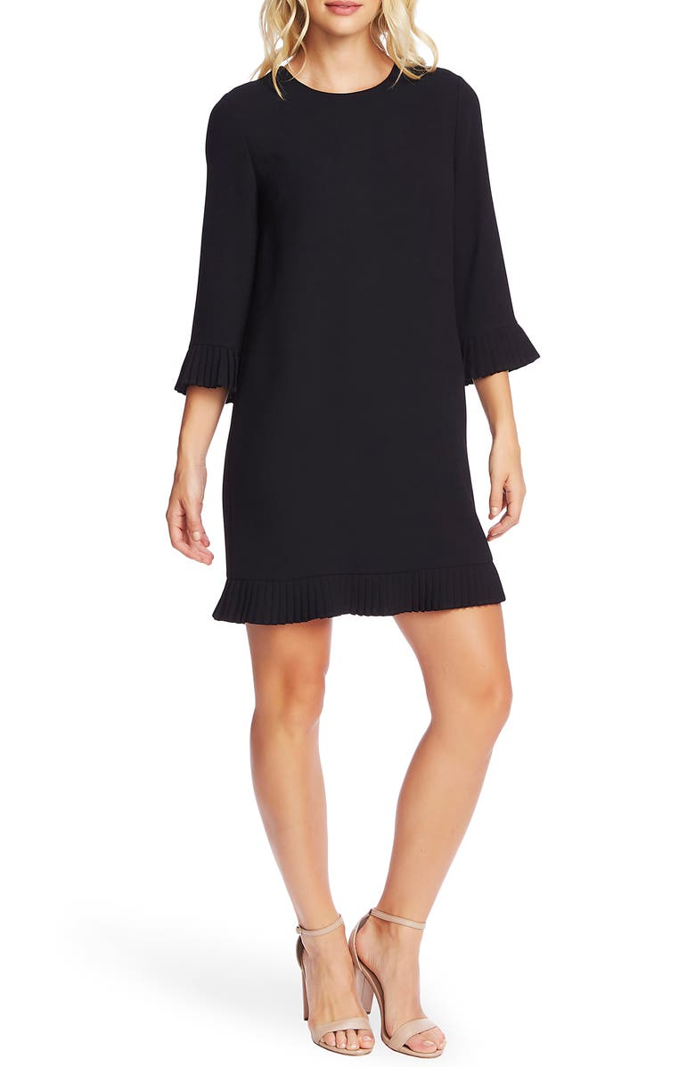 CECE Pleat Detail Moss Crepe Shift Dress, Main, color, RICH BLACK