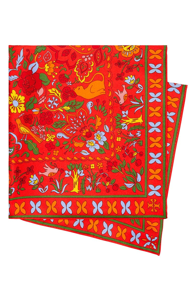 TORY BURCH Floral Double Sided Silk Square Scarf, Main, color, RED / YELLOW