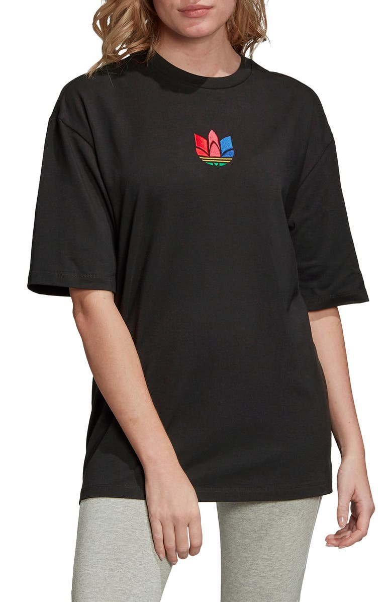 ADIDAS ORIGINALS Adicolor 3D Trefoil Embroidered Tee, Main, color, 001