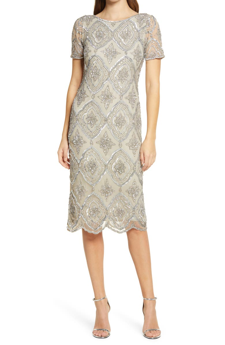 PISARRO NIGHTS Stain Glass Beaded Cocktail Dress, Main, color, SILVER