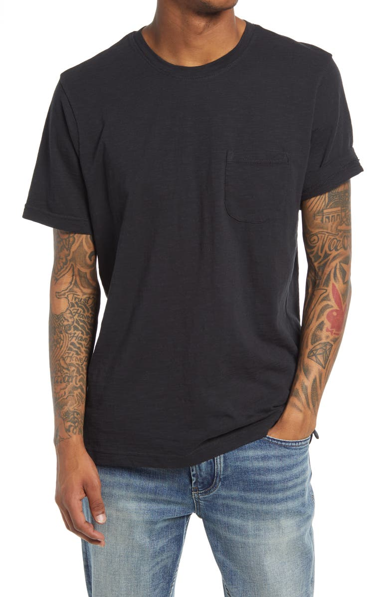 TREASURE & BOND Men's Short Sleeve Pocket T-Shirt, Main, color, BLACK CAVIAR