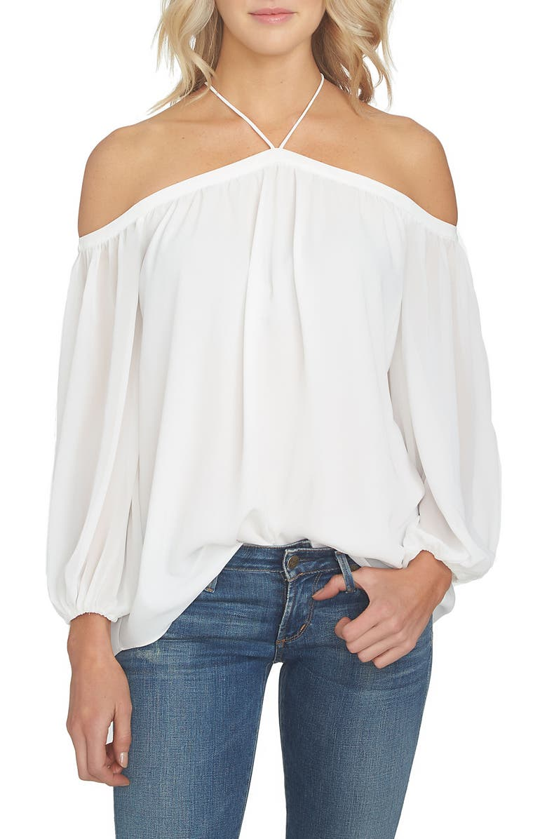1.STATE Off the Shoulder Sheer Chiffon Blouse, Main, color, CLOUD