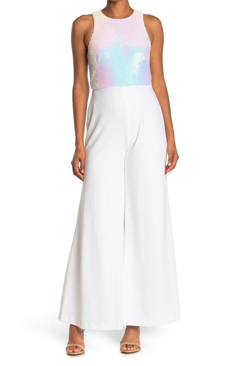 CALVIN KLEIN Sequin Embellished Sleeveless Jumpsuit, Main, color, WHITE