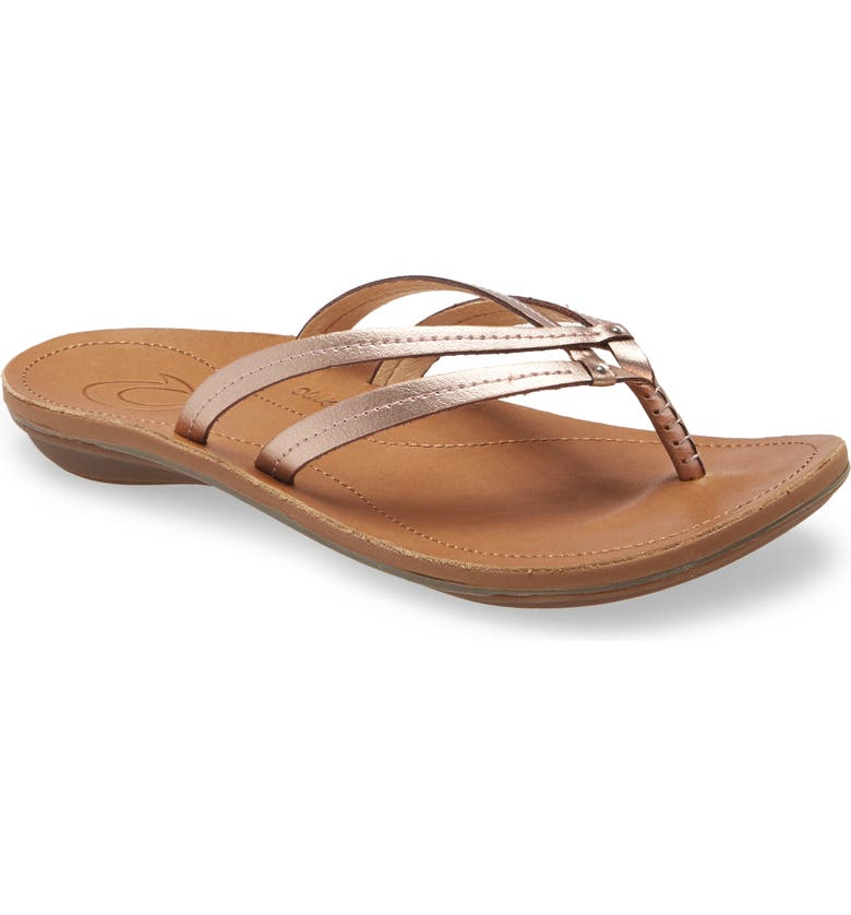 OLUKAI 'U'i' Thong Sandal, Main, color, PINK COPPER/ SAHARA LEATHER