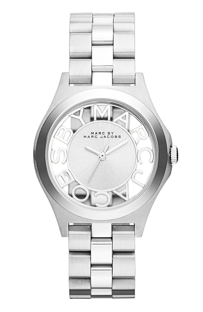 MARC JACOBS 'Henry Skeleton' Bracelet Watch, 34mm, Main, color, 040