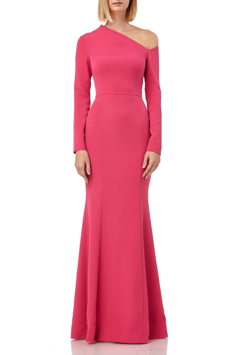 KAY UNGER Asymmetrical Neck Long Sleeve Mermaid Gown, Main, color, 950