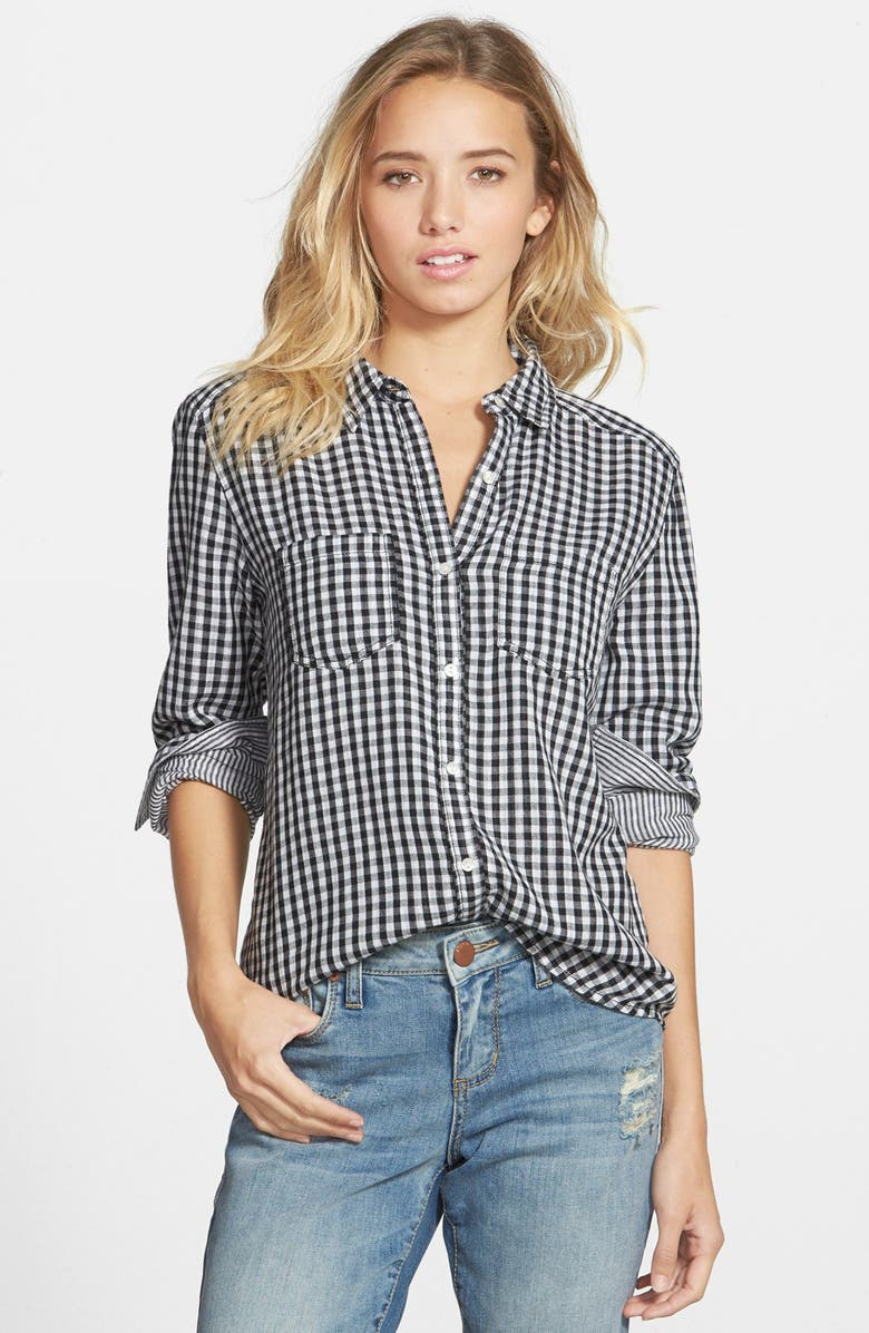 BP. Double Layer Gingham Shirt, Main, color, BLACK GINGHAM