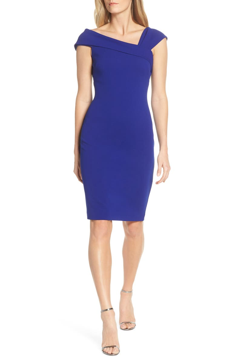 VINCE CAMUTO Asymmetrical Neck Sheath Dress, Main, color, 430