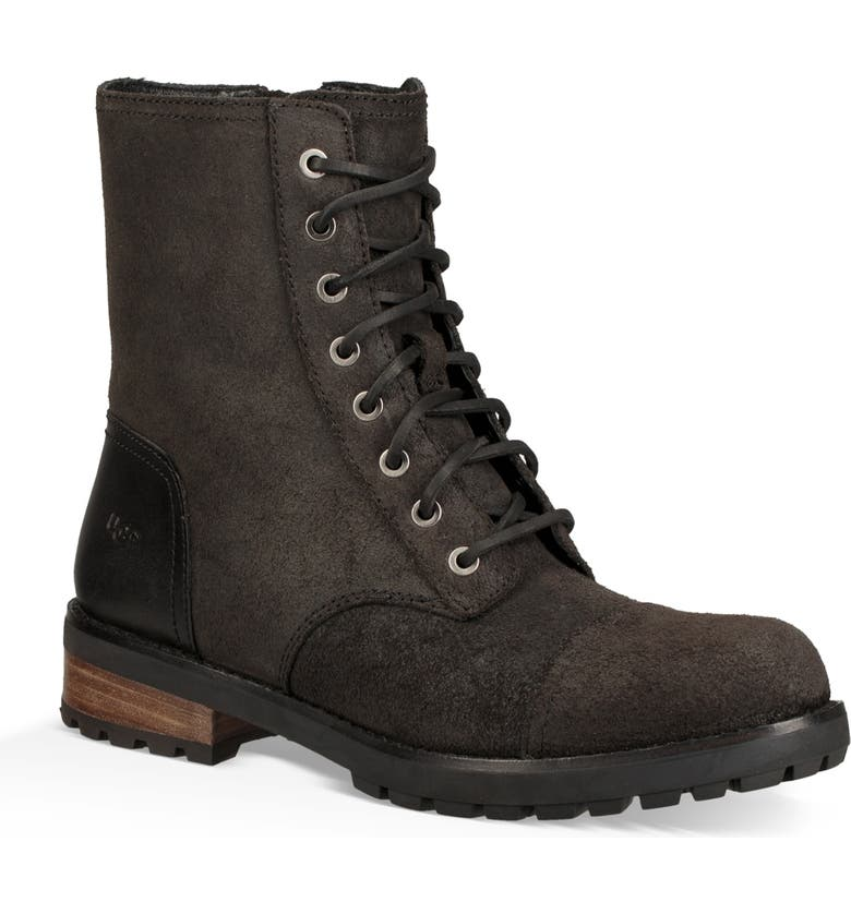 UGG<SUP>®</SUP> Kilmer II Genuine Shearling Lined Water Resistant Bootie, Main, color, BLACK LEATHER