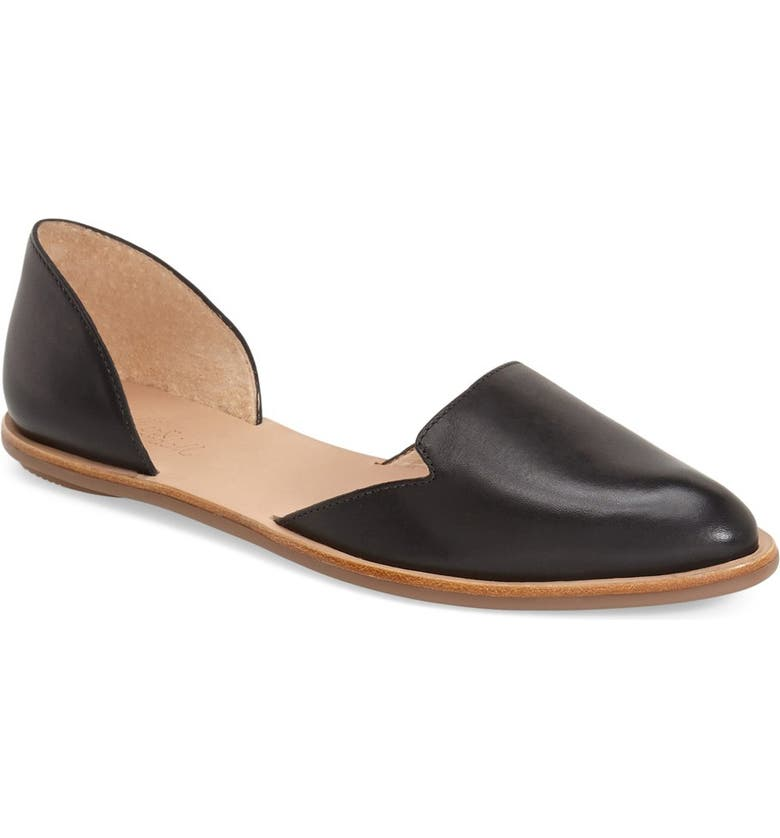 LOEFFLER RANDALL 'Prue' Pointy Toe d'Orsay Leather Flat, Main, color, 001