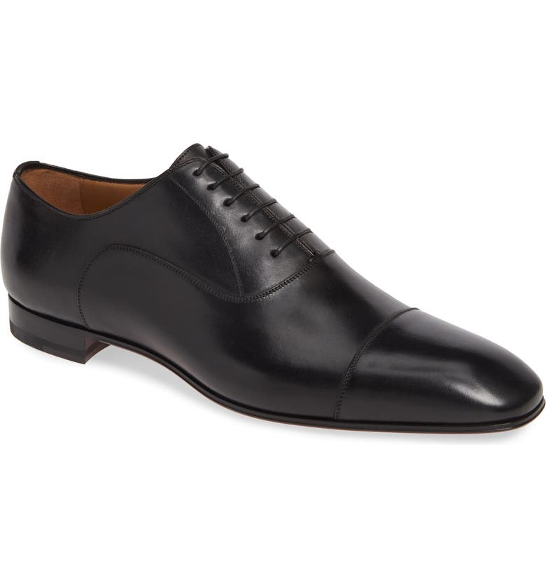 CHRISTIAN LOUBOUTIN Greggo Cap Toe Oxford, Main, color, BLACK LEATHER