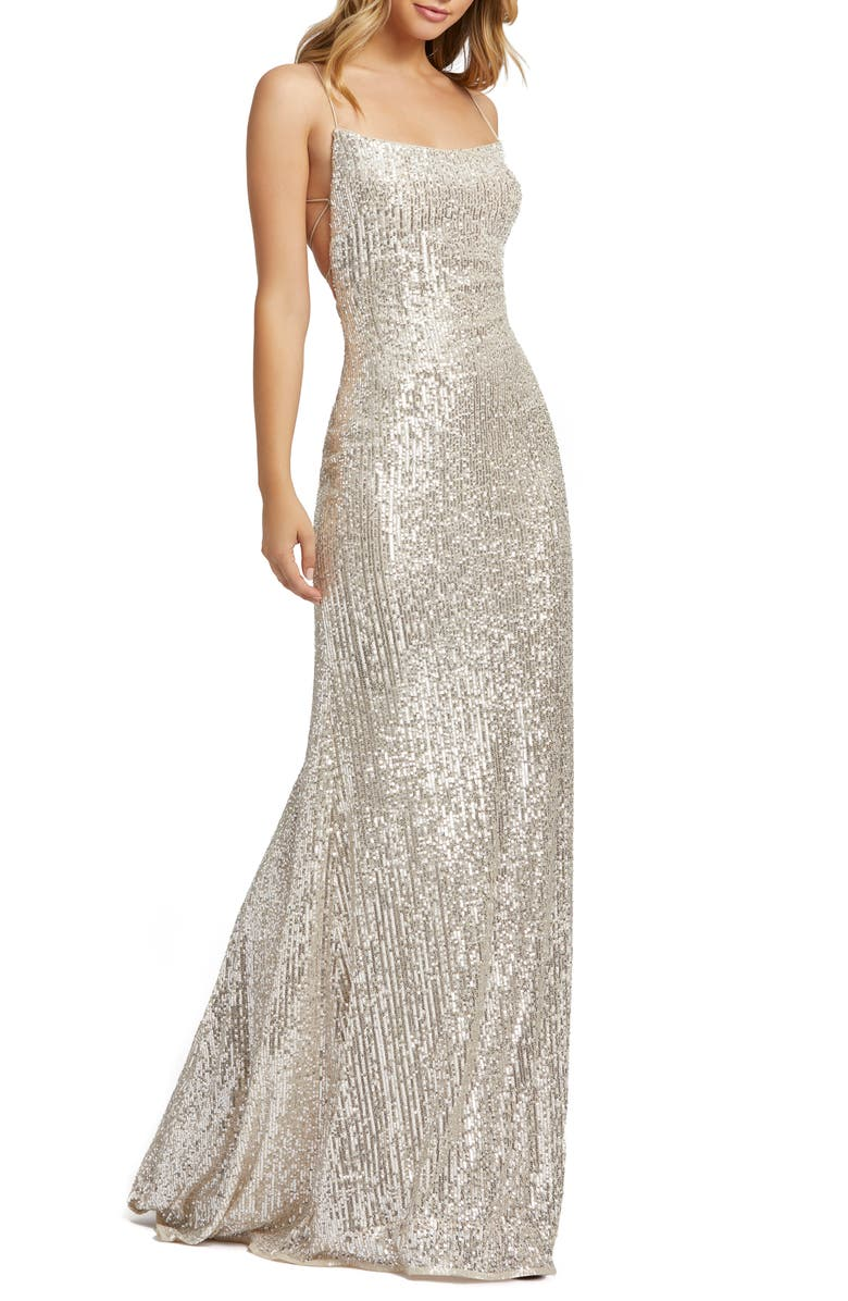MAC DUGGAL Sequin Strappy Back Gown, Main, color, NUDE SILVER